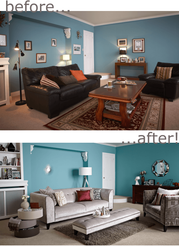 Before image with dark furniture in a light blue room, after image with light grey furniture instead