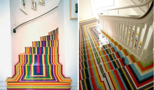Rainbow coloured and patterned staircase flooring