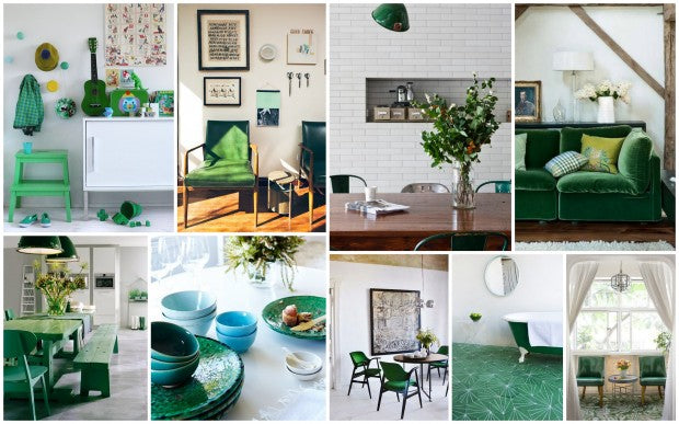 A collage of different white and green rooms in the home