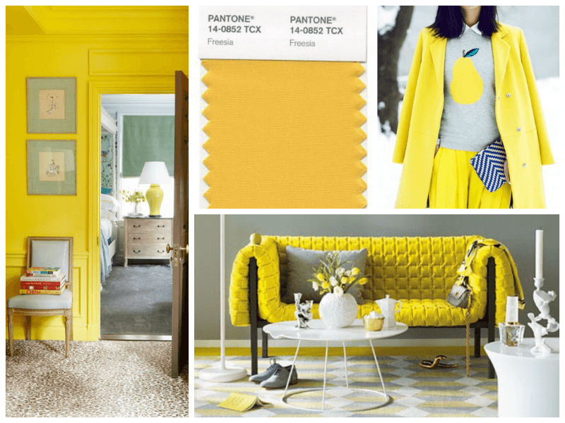 A collage of yellow, yellow hall, yellow sofa, yellow colour swatch, yellow coat on a model