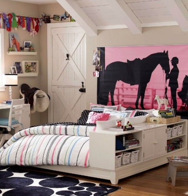 White and pink bedroom with a mural of a horse and horse rider