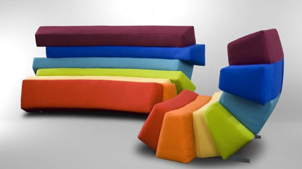 Funky modern sofa and armchair, with rows of different coloured seating and back support