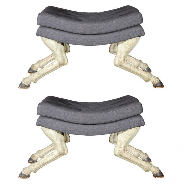 Funky grey foot stools with legs made to look like horse legs