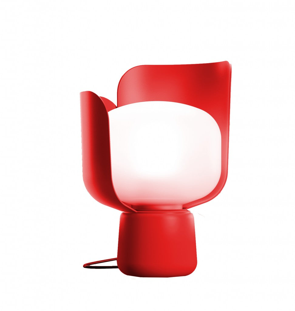 John Hollington's Elica pendent light with a red fixture