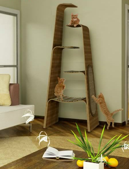 A tall A-shaped cat tower with five shelves for climbing on
