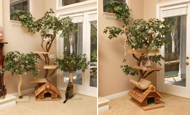 A treetop themed cat climbing frame with three shelves above a wooden hut