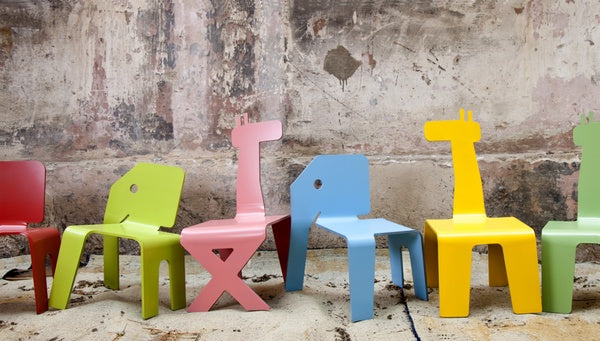 Funky animal themed metal kids chairs in a number of colours