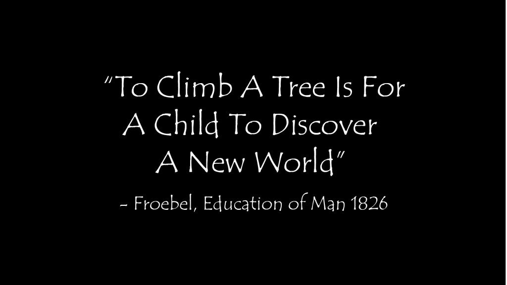 A quote that reads: To climb a tree is for a child to discover a new world