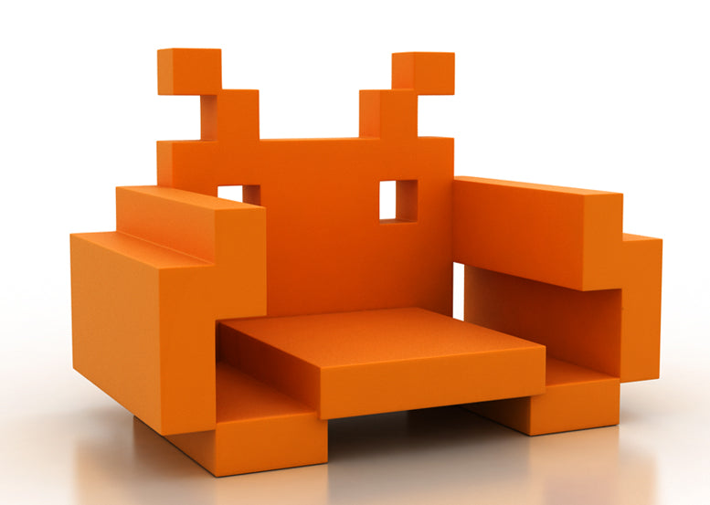 Orange retro Space Invaders themed chair