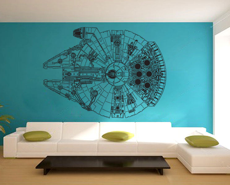 Teal living room wall with line drawing of the Millennium Falcon