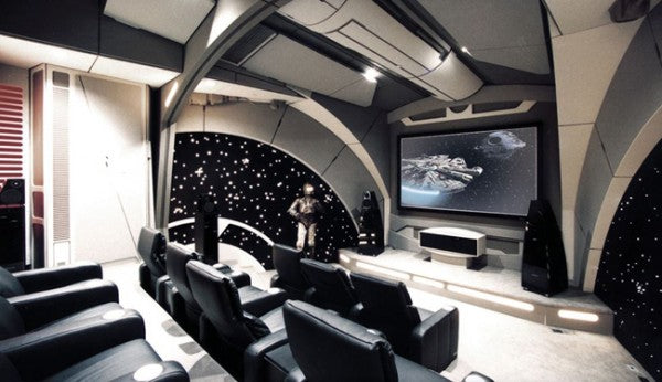 Home cinema in the style of a spaceship cockpit