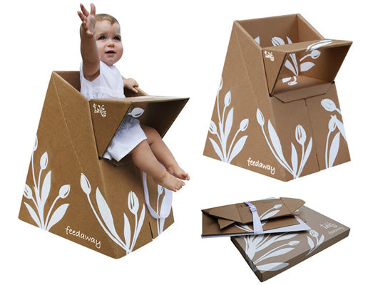Flat pack folding cardboard origami baby high chair