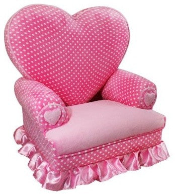 Small kids pink armchair with a love heat back support