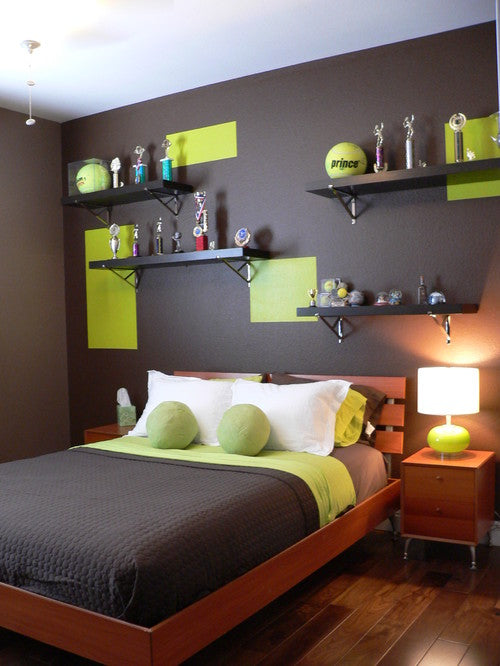 Brown, white and light green tennis themed bedroom with trophies and large tennis balls