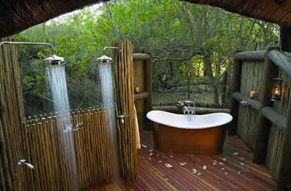 Classy Outdoor Bathtub And Shower Surrounded By Trees And Woodland