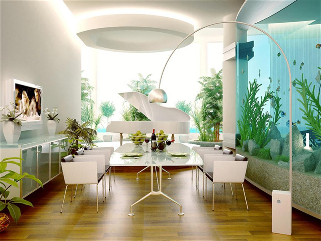 White dining room, with wooden flooring, white table, white grand piano in the distance and a tall fish tank to the right