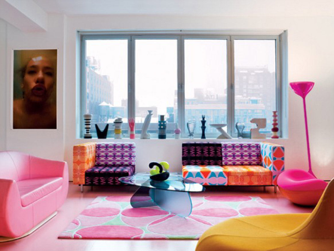 Funky Sixties Living Room With Bright Pinks, Yellows And Orange
