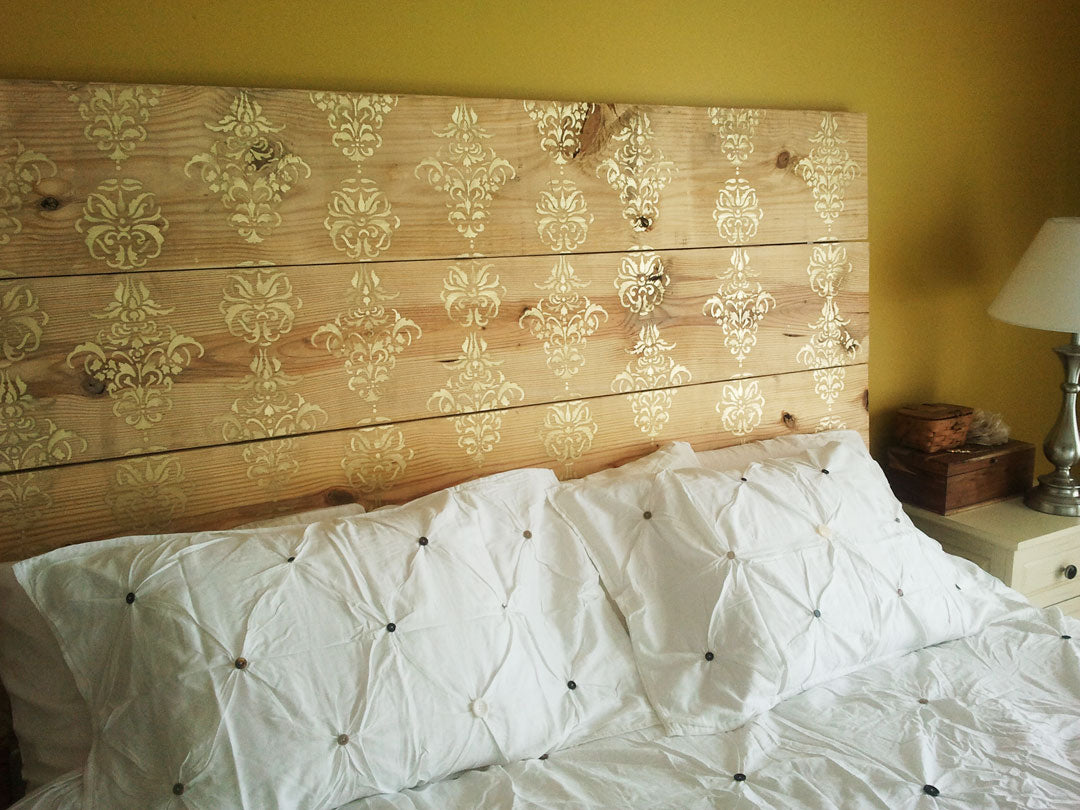 DIY Wooden Plank Headboard With Gold Damask Design, On A White Bed