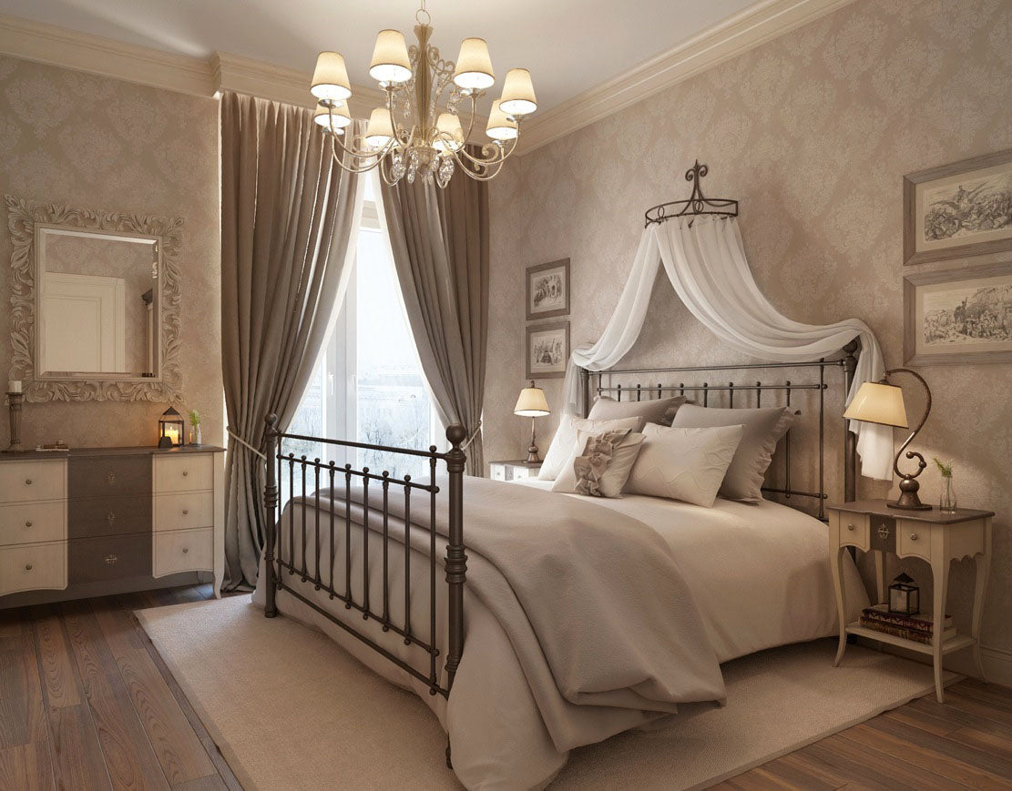 Cream and beige bedroom, with metal bed and white voile canopy over the headboard