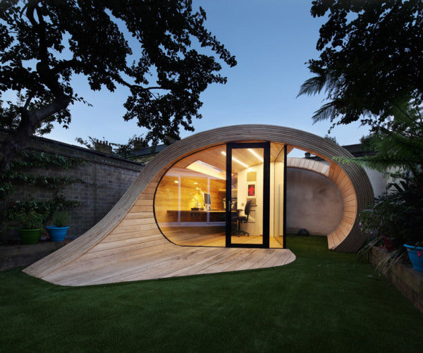 Modern Wooden Office For The Garden, In The Shape Of A Speech Bubble