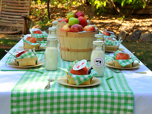 Green and white checked table cloth on a garden table, containing apple baskets and milk bottles