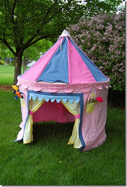 A pink and blue kids garden play tent