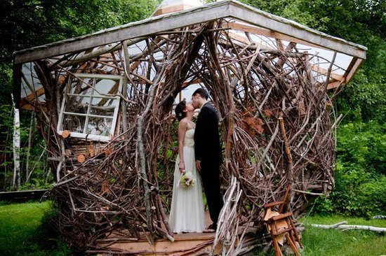 Kissing The Bride In Enchanted Wicker Cottage