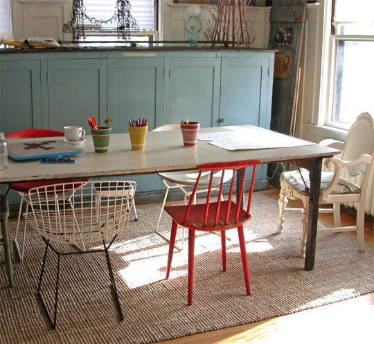 Eclectic dining chais in red, cream, wood, traditional and metal wire backs