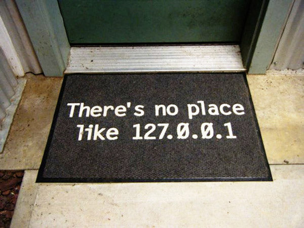 Geeky welcome door mat with pun around 127.0.01. IP address being equivalent to home