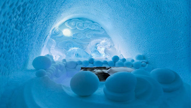 Ice Hotel With Ice Chairs, Tables And Ice Wall Lighting