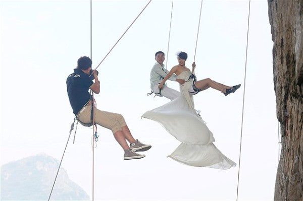 Wedding Couple Abseiling