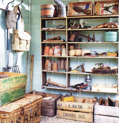 Shelves In A Shed With Typical Gardening Tools And Accessories