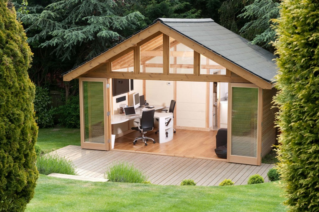 Large Outdoor Office With Open French Doors