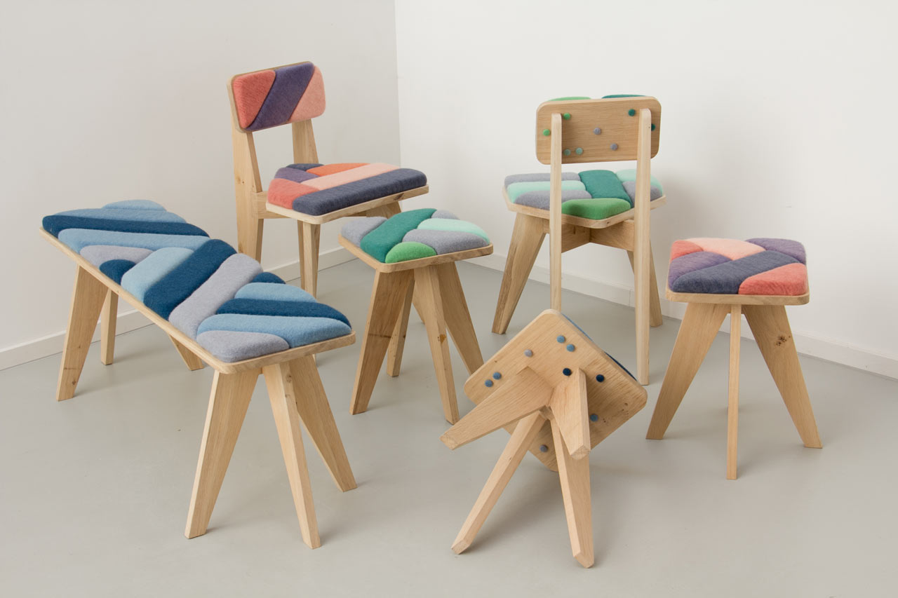 Wooden benches and seats upholstered with retro grey, blue, green and orange geometric patterns