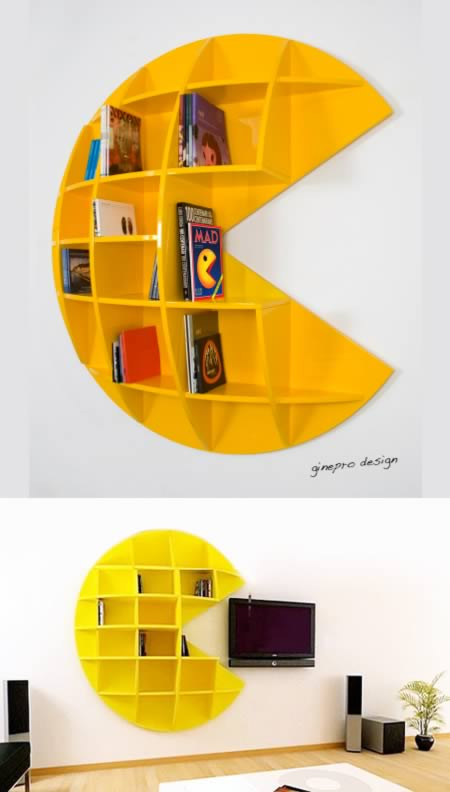 Yellow wall mounted Pacman shelves