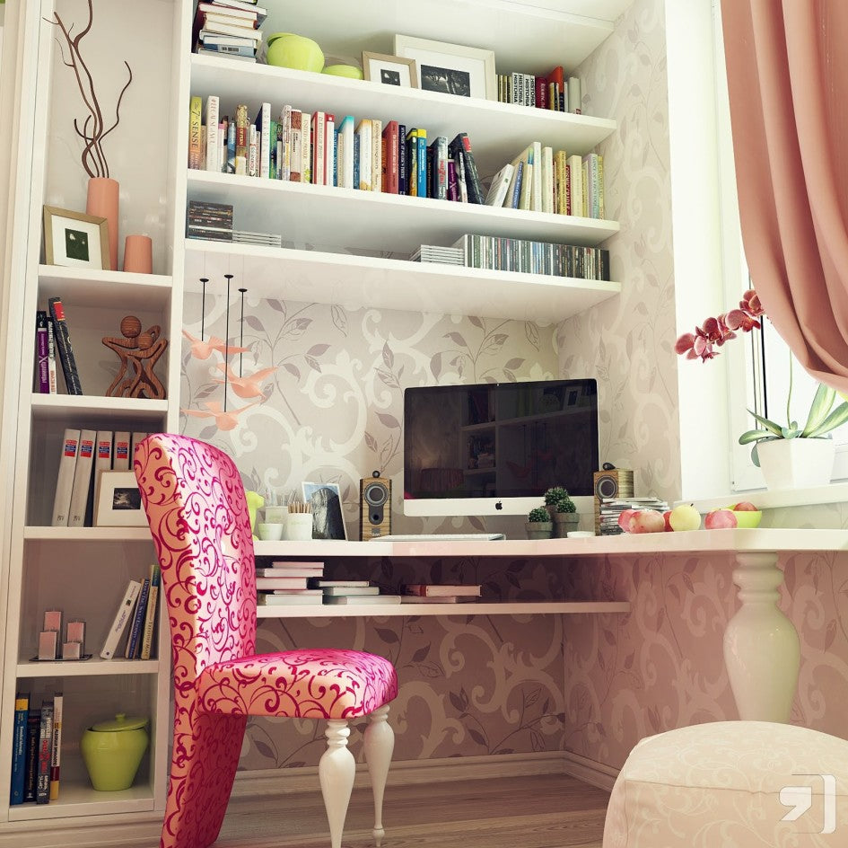 White, cream and blush home office with pink fabric desk chair