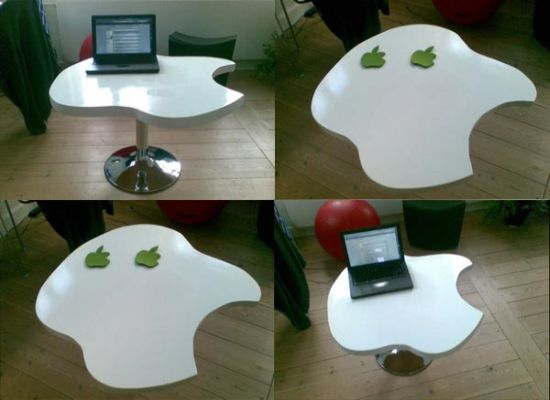White Apple shaped computer desk
