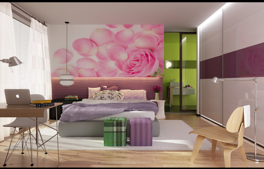 Cream, pink and beige bedroom, with grey bed, white bedding and light purple throw