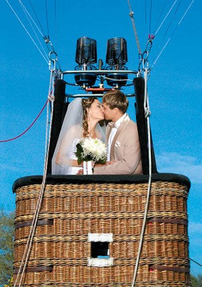 Kissing The Bride In a Hot Air Balloon Basket
