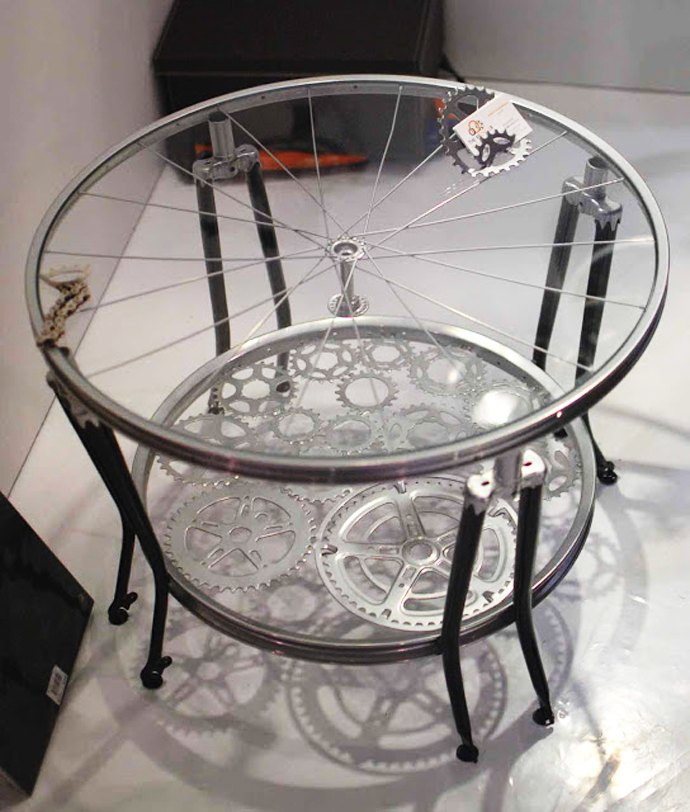 Two bicycle wheels used to create a coffee table