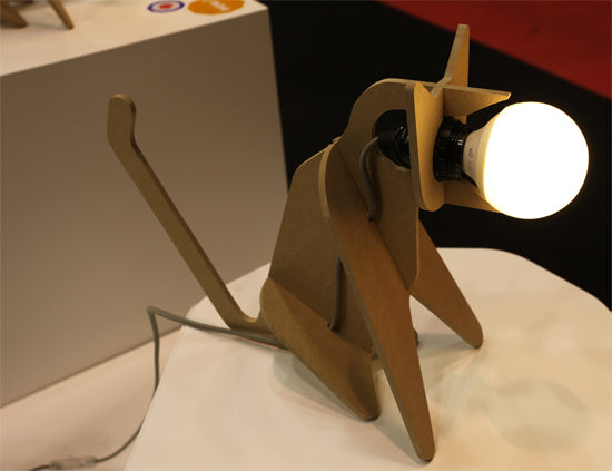 Wooden flat pack 3D shaped dog lamp
