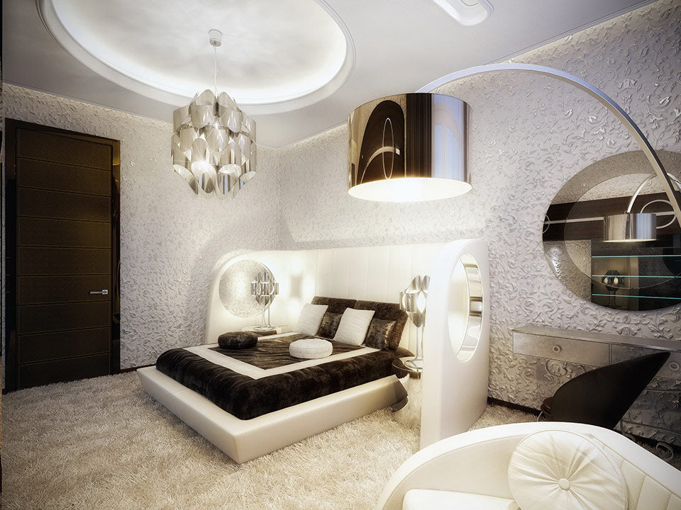 White, brown and silver modern bedroom with decorative silver ceiling light fixture