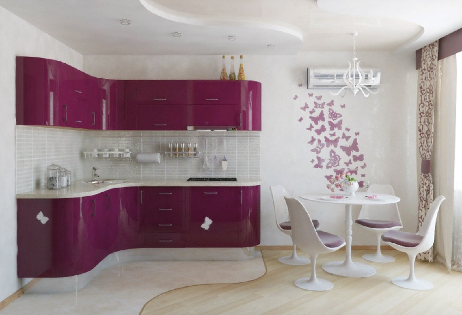 White kitchen with curved purple kitchen units