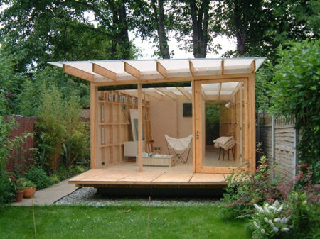 Modern Garden Pod With Opaque Roof And Storage, Plus Seating