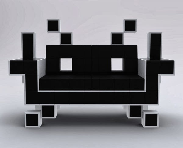 Black Space Invaders retro two seater chair