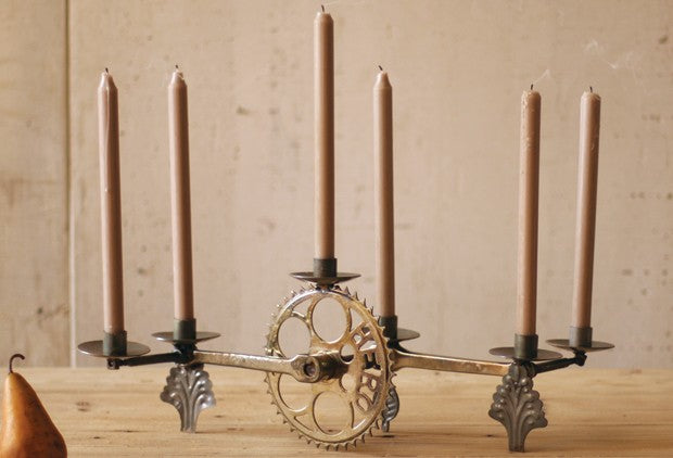 Bicycle pedals used to create candle holders
