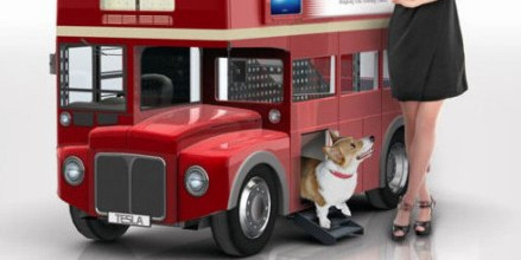A red London bus themed dog house and bed
