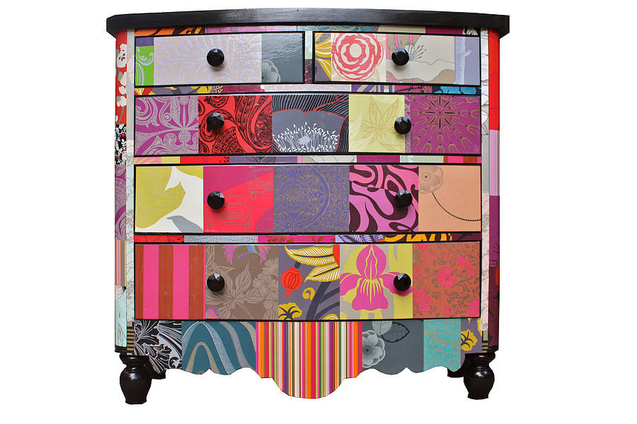 Decoupage chest of drawers, very bright and colourful