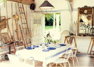 Working Shed Transformed Into A Dining Room For A Special Occasion