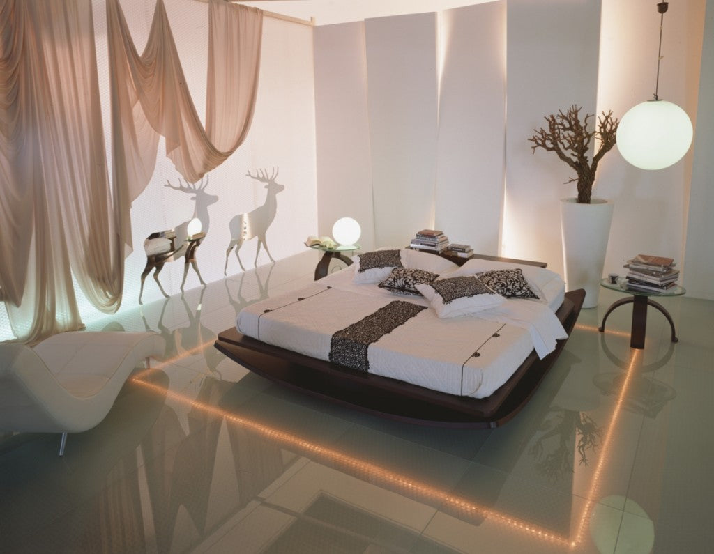 Cream and beige stylish bedroom with opaque glass walls with silhouettes of two deer